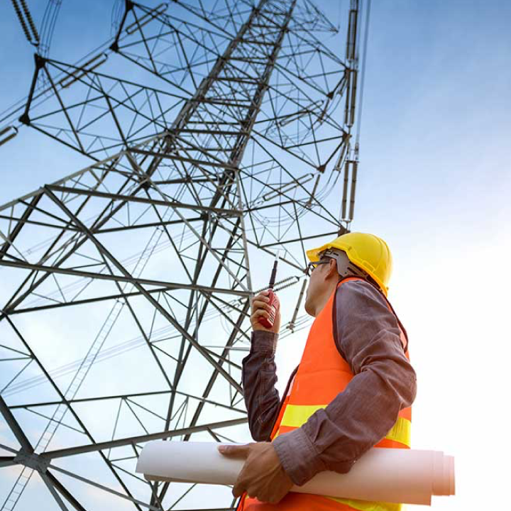 Engineer at transmission tower